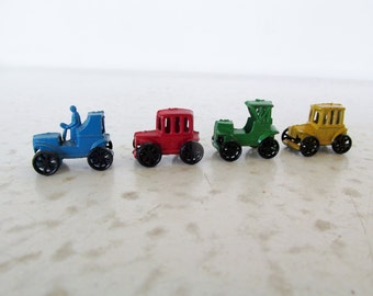 "1"" Miniature Die Cast Cars Set of 4 Metal Toy Vehicles Vintage Model T A"