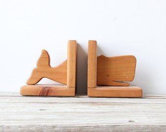 Large Handmade Wooden Whale Bookends
