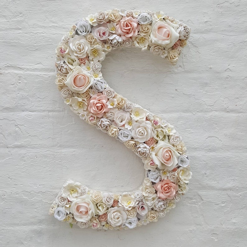 Flower Letter Floral Letters Light Blush Flowers Baby Gift Etsy