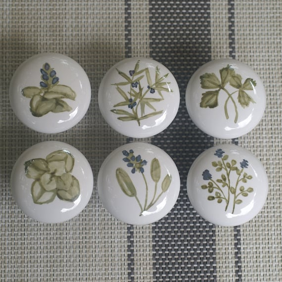 Hand Painted Herb Ceramic Cabinet Knobs, Hand Painted Porcelain Cabinet Knobs