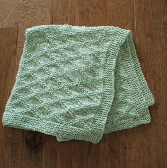 Pdf Knitting Pattern Simple Baby Blanket Beginner Knitting Etsy