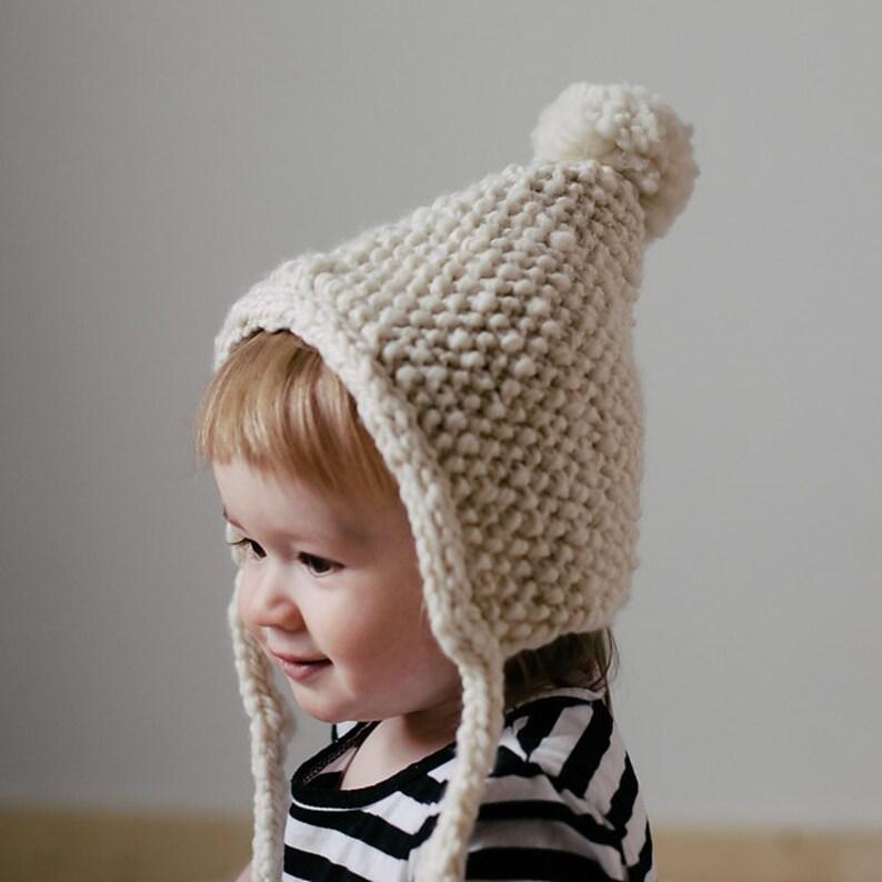 1c2a239456924 Knit baby bonnet pattern, knit toddler bonnet pattern, knit bonnet with  pompom, bulky yarn baby hat pattern, bulky yarn toddler hat pattern