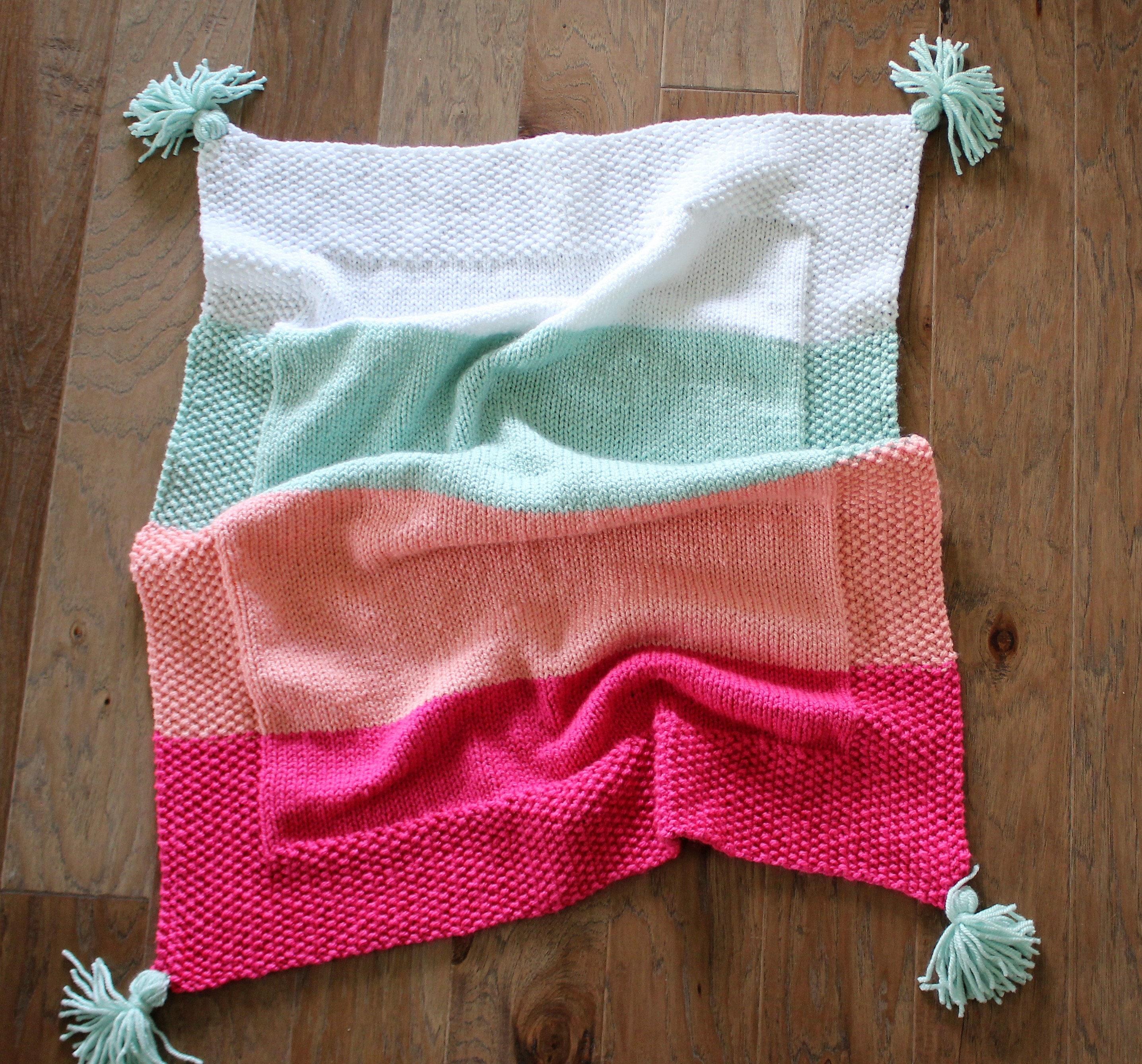 PDF Knitting Pattern, Simple baby blanket, beginner knitting baby ...