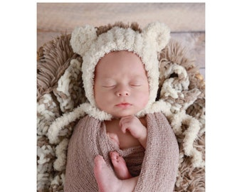 Boy's swaddle wrap AND/OR bear hat, choose from 3 colors, boy's newborn photos, bear bonnet, bebe, by Lil Miss Sweet Pea
