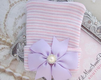 Newborn Hospital Hat, lavender, pink and white stripes with a lavender ribbon pearl center bow, baby hat, from Lil Miss Sweet Pea Boutique