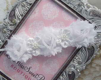 White Triple Mini Shabby with Satin and Pearl Accents Headband - Shabby flowers, wedding, baby, toddler, teen halo by Lil Miss Sweet Pea