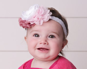Shades of Pink and White Cluster Flower Headband for all ages but works great for newborn photo shoots, by Lil Miss Sweet Pea