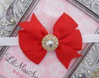 Ribbon Bow on Soft Stretch Elastic, Gold Rhinestone Center - many colors, newborns, Christmas, by Lil Miss Sweet Pea