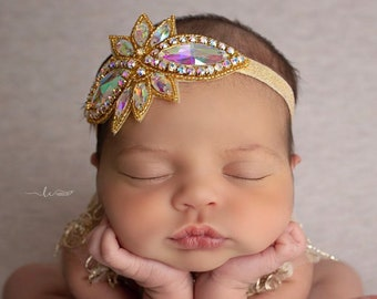 """4"""" Gold Iridescent Rhinestone Applique Headband for babies to brides for photos, bebe bandeau, gold headband, by Lil Miss Sweet Pea"""