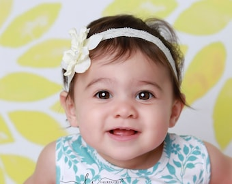 Ivory Delphinium Flower headband for photo shoots or everyday wear, perfect for all ages, baby shower gift by Lil Miss Sweet Pea