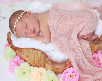 Gold Rhinestone Tieback or Headband AND/OR Blush Stretch Knit Wrap, newborn swaddle, photo bebe infant, bebe, foto, by Lil Miss Sweet Pea