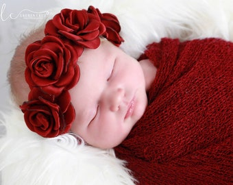 Cranberry/Merlot Boho Headband AND/OR Knit Swaddle Wrap in Cranberry/Merlot, photo shoots, flowers are 2 inches each, by Lil Miss Sweet Pea