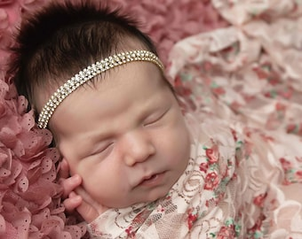 Printed stretch lace swaddle or layering AND/OR matching gold rhinestone headband, bebe foto, newborn wrap, bandeau bebe, Lil Miss Sweet Pea