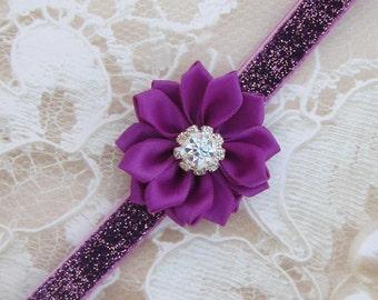 Plum Glitter Elastic with a Plum Rhinestone Satin Ribbon Flower for newborns, photo shoots, plum, hairband, bebe foto, Lil Miss Sweet Pea