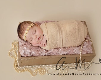 Tan swaddle wrap AND/OR matching gold sequin flower headband for newborn photo shoots, handmade, bandeau, bebe foto, Lil Miss Sweet Pea