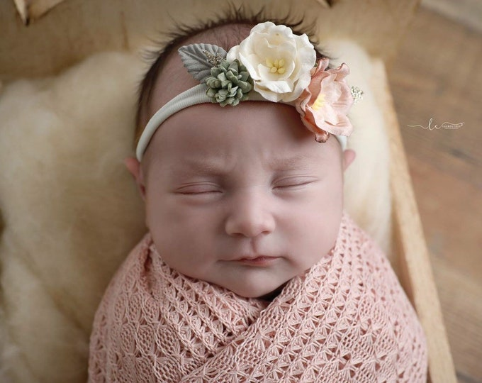 Featured listing image: Textured Blush Knit Swaddle Wrap or Layering for Newborn Photos AND/OR Matching Couture Mulberry Flower Headband by Lil Miss Sweet Pea