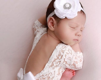 Newborn Lace Romper with choice of 10 colors for ribbon bow, or no bow, AND/OR White Flower Headband, photoshoot, bebe, Lil Miss Sweet Pea