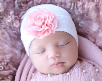 Newborn Hospital Hat, white with 3 inch pink chiffon flower, baby hat, infant beanie, shower gift, infant hat, gift, Lil Miss Sweet Pea