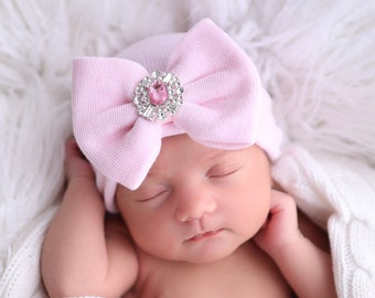Choose Pink or White, decorated Rhinestone Newborn Baby Hospital Hat, double ply, hospital grade, beenie, Lil Miss Sweet Pea Boutique