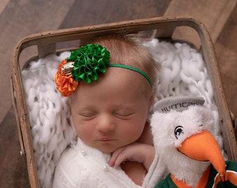 University of Miami Football Headband, UM football colors, baby bandeau, newborn UM, newborn prop, Lil Miss Sweet Pea