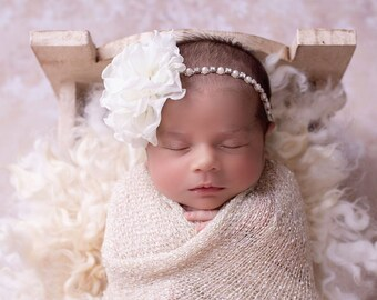 "Cream / ivory knit swaddle wrap AND/OR 4"" flower on a rhinestone & pearl headband, bebe foto, bandeau, newborn photos, Lil Miss Sweet Pea"