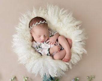 Newborn Romper, Printed Stretch Jersey, AND/OR matching silver rhinestone leaf headband, photoshoot, bebe, newborn, Lil Miss Sweet Pea