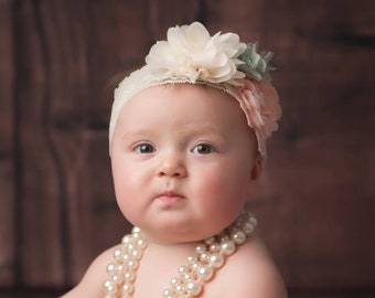 Wide Stretch Lace Cluster Headband, peach, mint & ivory, newborn photo shoots, bridesmaid, by Lil Miss Sweet Pea