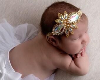 Gold Rhinestone Headband, photos, fotografia bebe, bebe bandeau, newborn propt, gold appliqueLil Miss Sweet Pea Boutique