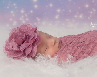 Pink Carnation Stretch Lace Wrap AND/OR Matching Chiffon and Lace Flower Headband, photo shoots, bebe foto, Lil Miss Sweet Pea