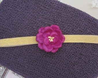Plum Knit Wrap AND/OR Matching 1.5 inch Flower Headband, gold elastic, photo shoots, newborn swaddle wrap, bebe foto, Lil Miss Sweet Pea