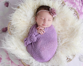 Lilac / Lavender satin flower headband AND/OR Stretch Knit Wrap -  for newborn photos,  foto bebe bandeau, photo, by Lil Miss Sweet Pea