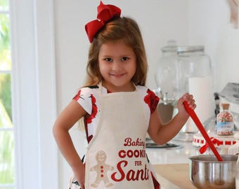 Christmas Kids Apron, Baking Cookies for Santa, canvas off-white with red glitter vinyl lettering & gingerbread man by Lil Miss Sweet Pea