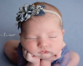 Newborn Stretch Lace Romper in slate blue AND/OR matching floral headband headband, newborn prop, bebe, bebe bandeau, by Lil Miss Sweet Pea