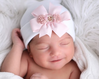 Newborn Hospital Hat, white with pink or lavender bow and matching ribbon flowers, baby hat, infant beanie, shower gift, Lil Miss Sweet Pea