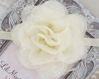 Ivory 4 inch lace and chiffon petal flower on matching elastic or a clip, bebe, foto, flower clip, photos, neutral color, Lil Miss Sweet Pea