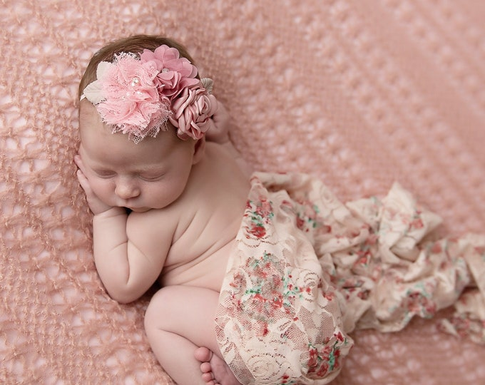 Featured listing image: Shades of pink stretch lace swaddle AND/OR floral headband, bandeau, bridesmaid, flower girl, bandeau baby, Lil Miss Sweet Pea