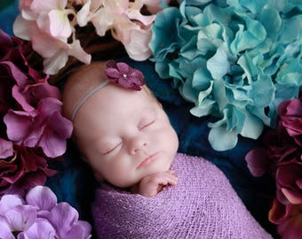 Single Purple Hydrangea Headband AND /OR Lilac Stretch Knit Wrap , perfect for photo shoots, baby, bebe, photographer, Lil Miss Sweet Pea