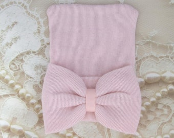 Baby Pink Newborn Hospital Hat with a matching pink fabric bow, double ply, hospital grade, beenie, baby hat, Lil Miss Sweet Pea Boutique