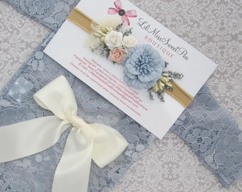 Periwinkle Blue Lace Romper with Ivory Bow on Lower Back, Unlined lace, w/sleeves, AND/OR flower headband,  Lil Miss Sweet Pea