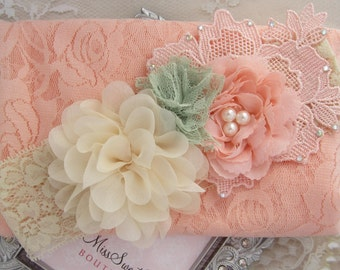 """Peach Stretch Lace Swaddle Wrap AND/OR Cluster Headband, soft & luxurious, 16x58"""" laying flat, newborn photo shoots by Lil Miss Sweet Pea"""