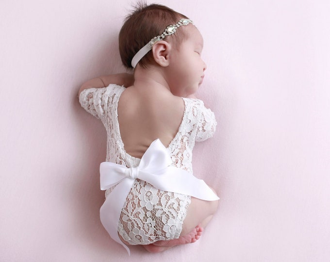 Featured listing image: Lace Romper, 4 way stretch lace, unlined, AND/OR Iridescent Rhinestone Headband,newborns, Lil Miss Sweet Pea