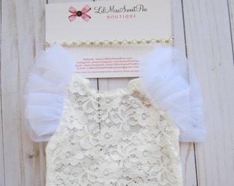 Lace Romper, off-white stretch lace with white flutter sleeves, unlined, AND/OR silver rhinestone/pearl headband, bebe, Lil Miss Sweet Pea