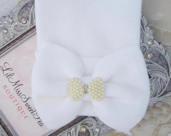 Newborn Hospital Hat, white with fabric bow and rhinestone pearl bow, infant hat, baby hat, from Lil Miss Sweet Pea