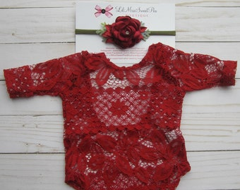 Red newborn lace romper, stretch lace, unlined, AND/OR matching flower headband, bebe foto, photo Christmas baby, Lil Miss Sweet Pea