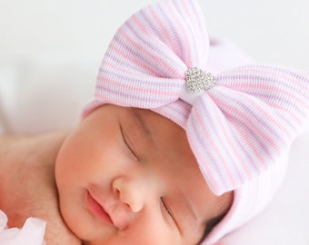Newborn Hospital Hat, lavender, pink and white stripes with a rhinestone heart center bow, baby hat, Lil Miss Sweet Pea Boutique