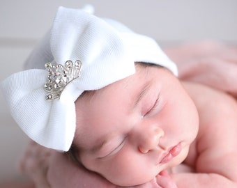 Newborn Princess hospital hat, white with a silver rhinestone crown, baby hat, hospital take home outfit, bebe, Lil Miss Sweet Pea Boutique