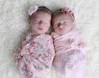 Shades of Pink stretch swaddles AND/OR headbands, twins, stretch lace swaddle, photo prop, newborn swaddle, bebe foto, by Lil Miss Sweet Pea