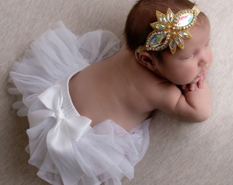 "4"" Gold Iridescent Rhinestone Applique Headband for babies to brides for photos, bebe bandeau, gold headband, by Lil Miss Sweet Pea"