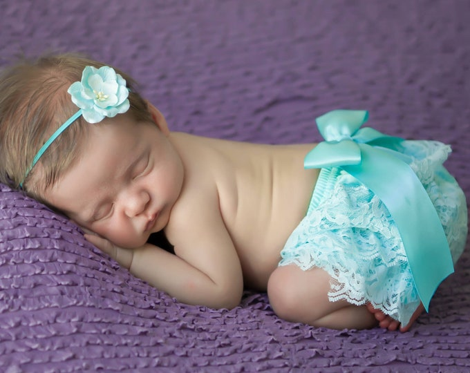 Featured listing image: Newborn Aqua Lace Bloomers AND/OR Organic Paper Flower Headband, newborn lace diaper cover, bebe foto, by Lil Miss Sweet Pea Boutique