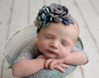 Lace Romper, slate blue stretch lace with sleeves, unlined, AND/OR matching grey bluecluster flower headband, bebe foto, Lil Miss Sweet Pea